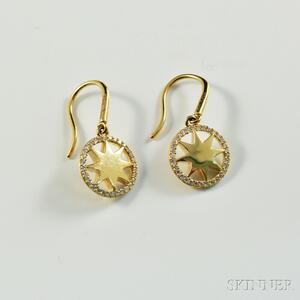 Tiffany & Co. Paloma Picasso 18kt Gold and Diamond Star Earpendants
