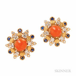 14kt Gold, Coral, Sapphire, and Diamond Earclips, Vourakis
