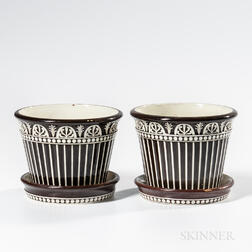 Pair of Wedgwood Brown Slip-decorated White Terra-cotta Cache Pots with Underdishes
