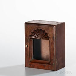 Rhode Island Mahogany Shell-carved Watch Hutch and Silver Pocket Watch