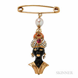 14kt Gold, Enamel, and Coral Blackamoor Charm, Cartier