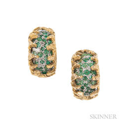 14kt Bicolor Gold and Emerald Earclips