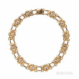 Arts and Crafts 14kt Gold and Diamond Necklace