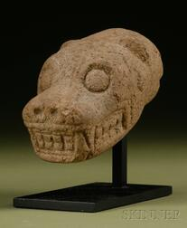 Pre-Columbian Carved Stone Jaguar Head