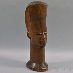 Contemporary African Carved Wood Head