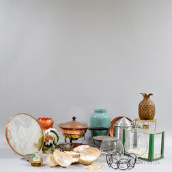 Group of Assorted Ceramic, Metal, and Glass Tableware