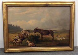Thomas Hewes Hinckley (American, 1813-1896)      Donkeys, Goats, and Geese in a Field with a Distant Windmill