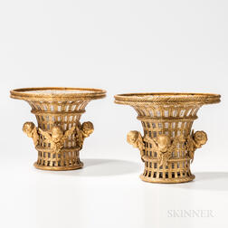 Pair of Gilt-bronze and Glass Baskets