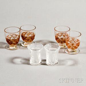 """Four Lalique Sepia """"Pouilly"""" Cordials and a Pair of """"Enfants"""" Cordials"""