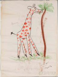 Rey, Margret (1906-1996) and Hans Augusto (1898-1977) Giraffe, Original Signed Chalk Pastel Drawing, March 2, 1971.