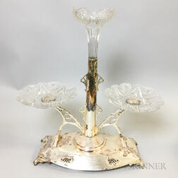 Silver-plate and Cut Glass Epergne