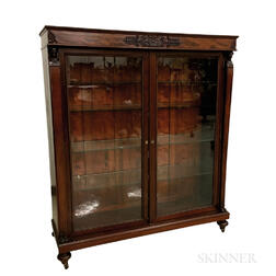 Neoclassical-style Carved and Glazed Mahogany Bookcase