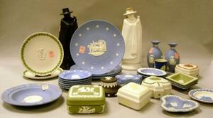 Thirty-one Wedgwood Jasper Boxes, Dishes, and Two Sandeman Figural Decanters.