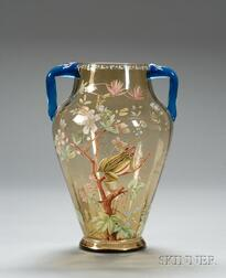Late Victorian Enamel Decorated Art Glass Vase