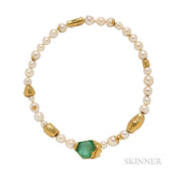 Gold, Emerald, and Baroque Pearl Necklace, Alexandra Watkins for Janiye