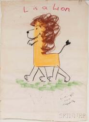Rey, Margret (1906-1996) and Hans Augusto (1898-1977) L is a Lion  , Original Signed Chalk Pastel Drawing, March 2, 1971.