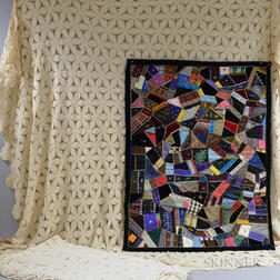 Small Velvet and Silk Crazy Quilt and Two Coverlets.     Estimate $100-150