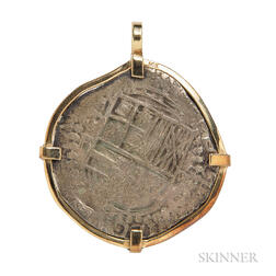Silver Coin with 14kt Gold Pendant Mount