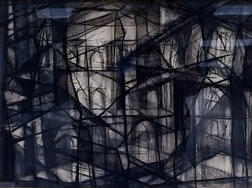 Garabed Der Hohannesian (American, 1908-1992)      Abstract Building Cityscape