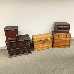 Five Small Wood Collectors Cabinets