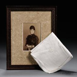 Cabinet Card of Empress Maria Feodorovna and a Handkerchief with Her Cipher