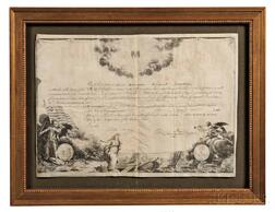 Washington, George (1732-1799) Printed Document on Parchment Signed, Order of the Cincinnati, c. 1797.