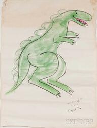 Rey, Margret (1906-1996) and Hans Augusto (1898-1977) Dinosaur, Original Signed Chalk Pastel Drawing, March 2, 1971.