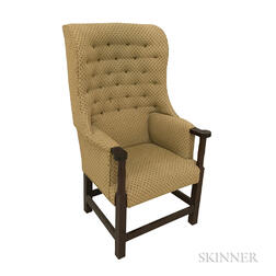 Country Upholstered Mahogany Easy Chair