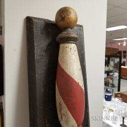 Mounted Polychrome Painted Wood Barber Pole