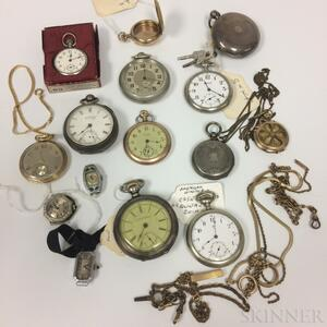 Group of Pocket Watches, Watch Fobs, Watch Cases, and Two Lady's Watch Faces