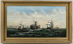 Anglo/American School, 19th Century      Harbor Scene with Sailing and Steam Ships