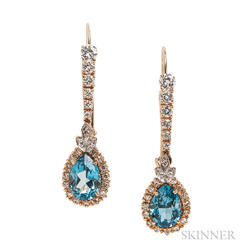 14kt Gold, Blue Topaz, and Diamond Earrings