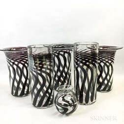 Six Anthony Stern Art Glass Vases