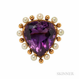 14kt Gold, Amethyst, and Cultured Pearl Heart Pendant/Brooch