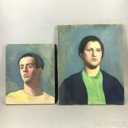 Four Unframed Oil on Canvas Portraits Attributed to Edwin B. Sears (American, 20th Century)