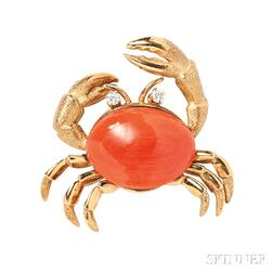 18kt Gold, Coral, and Diamond Crab Brooch
