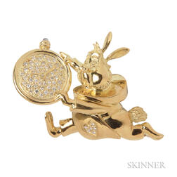 18kt Gold and Diamond Figural Brooch, Disney