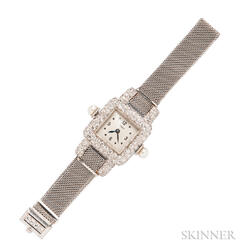 Art Deco Platinum and Diamond Wristwatch, Cartier