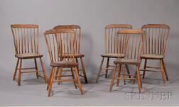 Set of Six Maple and Ash Step-down Bamboo-turned Windsor Dining Chairs