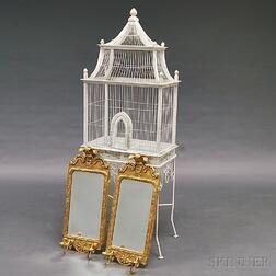 White-painted Birdcage on Stand and a Pair of Gilt Queen Anne-style Mirrors