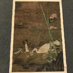 Hanging Scroll Painting Depicting Waterfowl and Bamboo