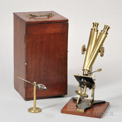 Henry Crouch Lacquered Brass Binocular Microscope and Compendium