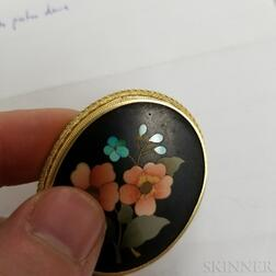 Three Brooches and a Thimble in an Acorn Case