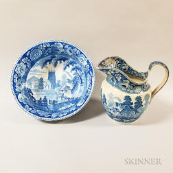 Blue and White Transfer-decorated Ceramic Pitcher and Bowl