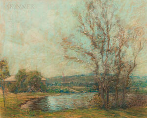 Arthur Clifton Goodwin (American, 1864-1929)      Spring Landscape with Pond and Foreground Trees