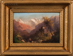 European School, 19th/20th Century    Alpine Landscape with Shepherd and Goats