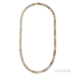 18kt Bicolor Gold and Diamond Chain