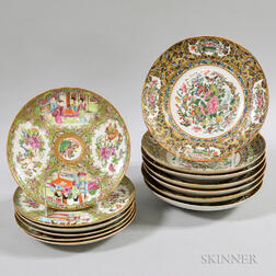 Seven Rose Medallion Soup Bowls and Six Plates