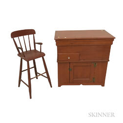 Country Red-painted Pine Commode and High Chair