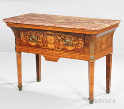 Louis XVI-style Marble-top and Kingwood-veneered Side Table